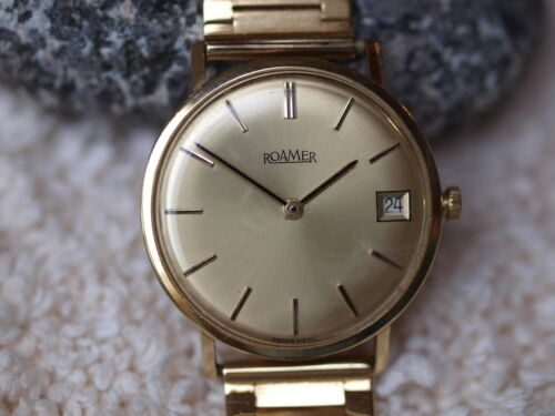 Uhr Gold 585 Roamer Handaufzug Vintage Armbanduhr Herren Swissmade