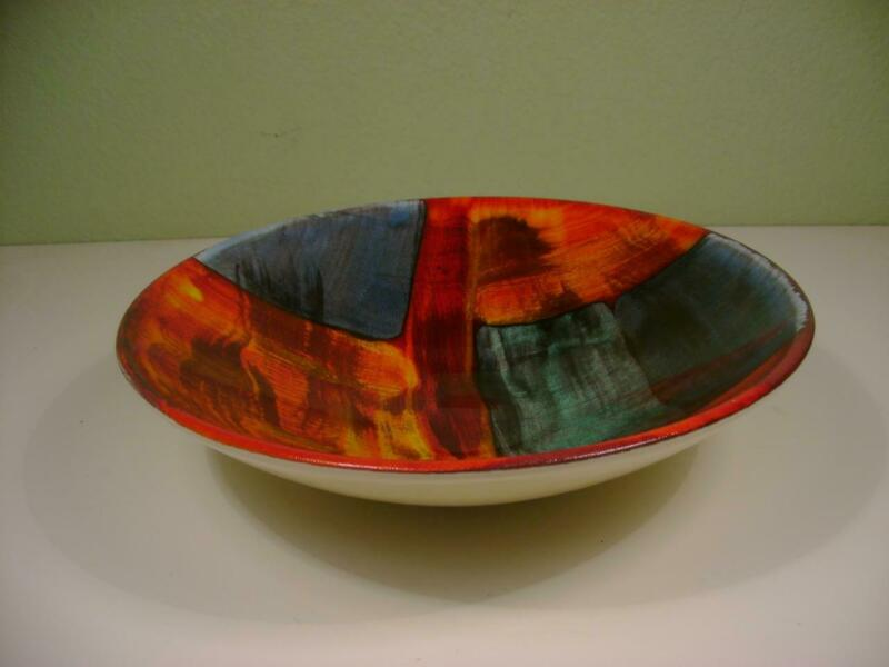 "Vintage Poole Pottery England 13"" Serving Bowl Mid Century Abstract Art"