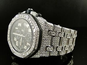 Mens Iced Out Audemars Piguet Royal Oak Offshore Diamond Watch 26 Ct