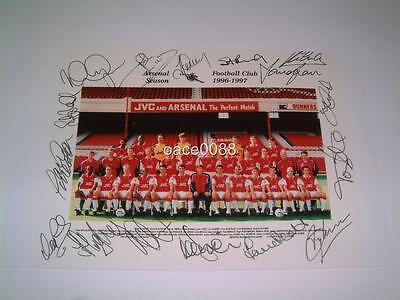 ARSENAL FC 1996-1997 SQUAD SIGNED (PRINTED) PHOTO WENGER BERGKAMP TONY ADAMS