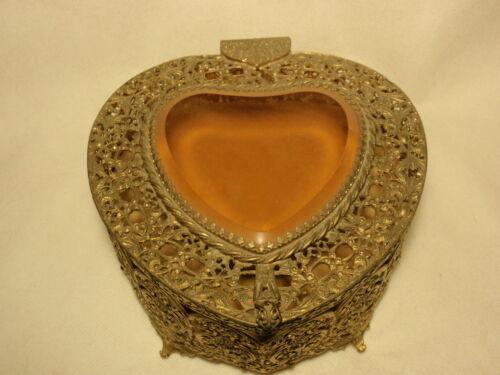 Vtg Ormolu & Filigree Amber Beveled Heart Shape Glass Jewelry Casket Trinket Box