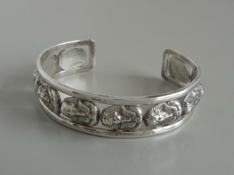 Vintage Cuff Bracelet Egyptian Revival 800 Silver Pharaohs Large Size Egypt