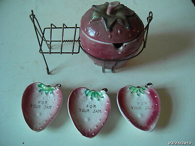 VINTAGE- CRITERION- Japan-Pottery StrawberryShaped Jam + Jelly Set w Wire Stand