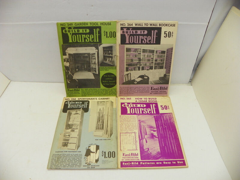 4 VINTAGE EASI - BILD BUILD IT YOURSELF INSTRUCTIONS Lot of 4 Wall Bookcase