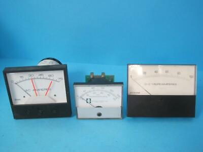 Lot Of 3 Dc Ac Amp Panel Meter Ammeter Microamperes Beede Crompton