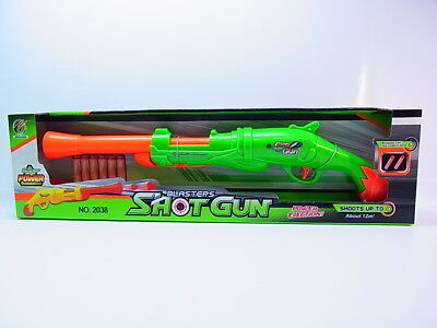 35458 Kinder Shotgun 2038 Schrotflinte Gewehr grün, 6 Schaumstoff-Pfeile NEU OVP