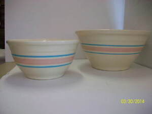 Large Stoneware McCoy Pottery Mixing Bowl With Pink And Blue Bands / Stripes