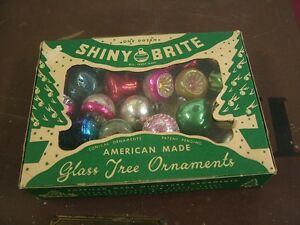 25 Mini Vintage Glass Christmas Tree Ornaments Shiny-Brite Eckardt Indents