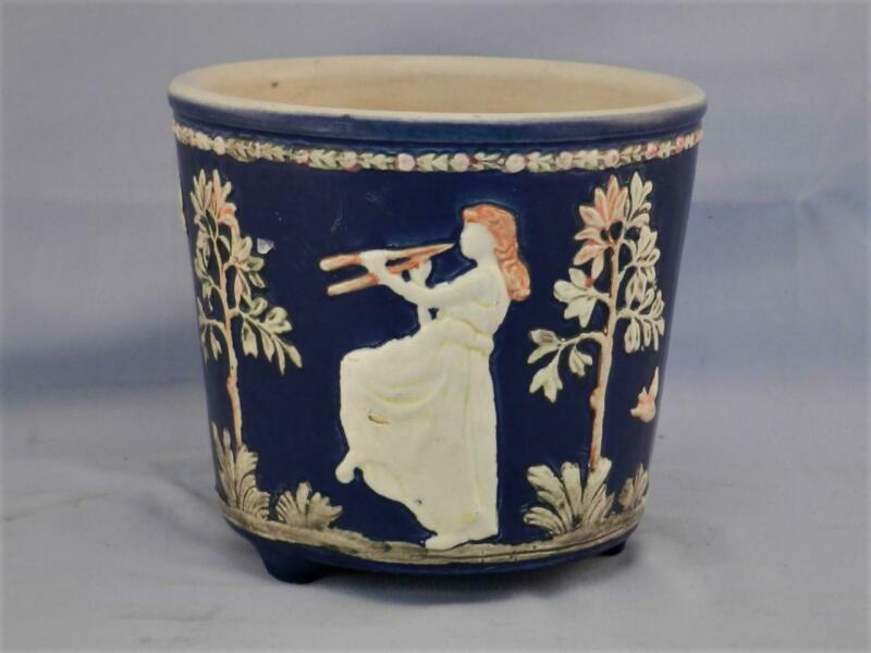 Antique c1920 WELLER American Art Pottery Jardiniere~Cobalt Blue~Country Scene