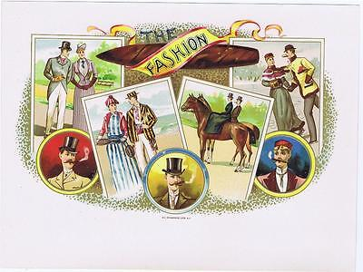 The Fashion   original Victorian cigar label cc 1890s tennis equestrian skating