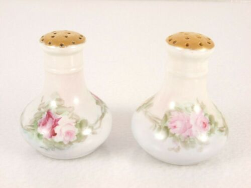 Moritz Zdekauer MZ Austria Salt Pepper Shakers Porcelain Corked Floral Rose