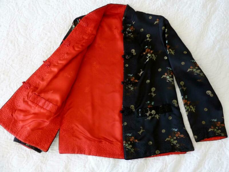 Solz Squirrel Vtg Chinese Silk Satin Reversible Black Embroidered/Red Jacket~S/M