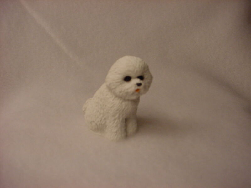 BICHON FRISE white puppy DOG Resin Figurine HAND PAINTED MINIATURE Small Mini