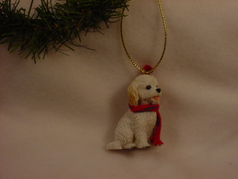 COCKAPOO scarf ornament dog HAND PAINTED Resin FIGURINE white puppy Christmas