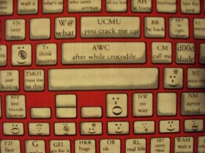 KEYBOARD TYPING COMPUTER PHONE TABLET APP RED BLACK COTTON FABRIC BTHY for sale  Shipping to India