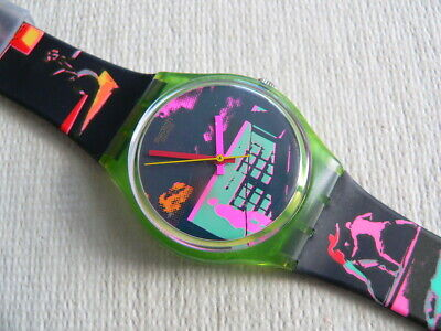 1989 Vintage Swatch Watch 80's  Rush For Heaven -- Read before you purchase.