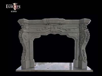 MASSIVE HAND CARVED SOLID MARBLE EUROPEAN DESIGN FIREPLACE MANTEL - FPM