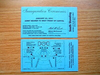 PRESIDENT BUSH 2001 INAUGURATION CEREMONIES TICKET W. FRONT OF CAPITOL ORIGINAL!