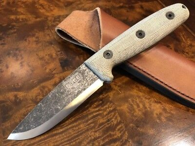ESEE Knives RB3 Black Oxide Blade Micarta Handle Leather Sheath ESEE-RB3-BO