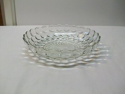 "Vintage Anchor Hocking Clear Glass ""Bubble"" Pattern Serving Bowl"