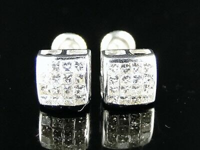 Mens Invisible Set - 14K Mens/Ladies White Gold Bezel Invisible Set Diamond Stud Earrings 3/4 Ct