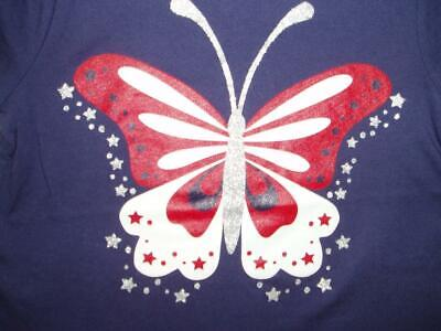 4th of July Girls Blue Short Sleeve T-Shirt Butterfly Red/White/Blue ()