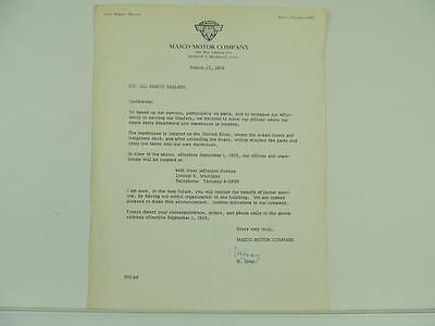 1959 Maico Motor Company Motorcycle Scooter Signed Dealer Letter L2273