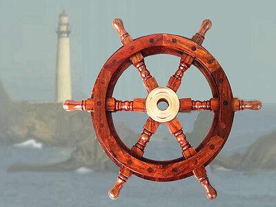 Hochwertiges Steuerrad Schiffssteuerrad aus Hartholz 31cm Durchmesser