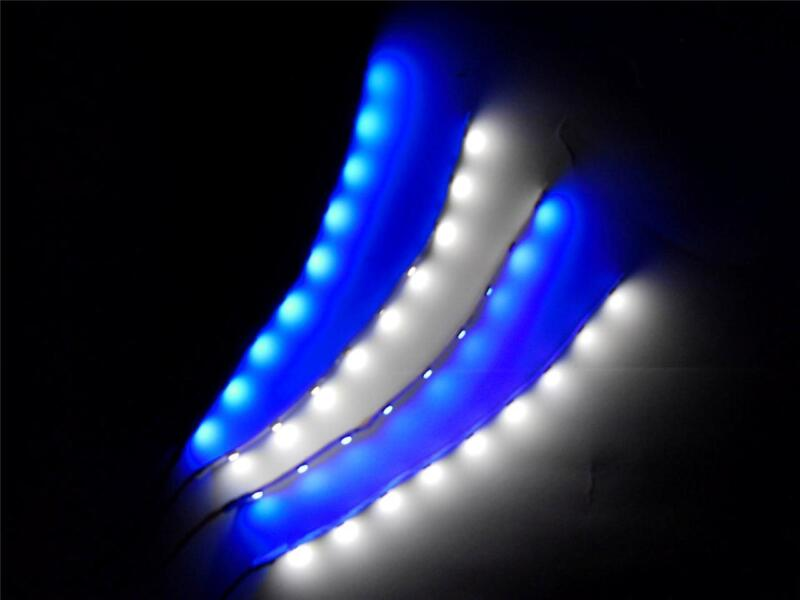"""4pc RC Blue and White Underglow 6"""" LED Strip Lights Superbright FPV Quadcopter"""