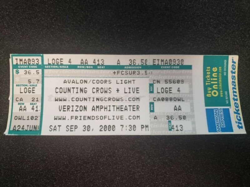 Counting Crows with Live Verizon Amphitheater Concert Ticket 9/30/2000