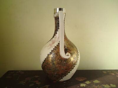 Victorian 1882 Aesthetic Movement Pottery Ewer with Hallmark Silver Rim