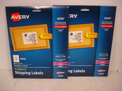 2 Packages Avery 6436 Shipping Labels W Trueblock 3 13 X 4 300 Labels Total