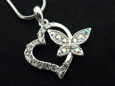 Butterfly Heart Pendant Women Clear Austrian Crystal Necklace Silver Plated New Austrian Crystal Butterfly Necklace