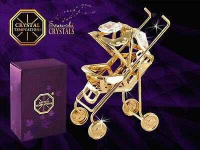 4909 Gold Buggy Pram Swarovski Steine Kristall 24 Karat Crystal 7 cm