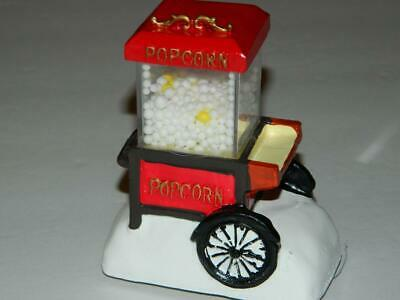 Xmas Village Popcorn Popper Cart Real Working Animated Light Up Hand Painted New ()