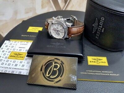 Breitling Aeromarine Super Avenger II Brown Strap Watch A13371 Box Papers