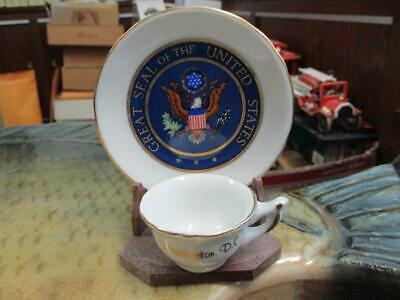 BEAUTIFUL COMMEMORATIVE UNBRANDED MINIATURE CHINA CUP & SAUCER GOLD TRIM