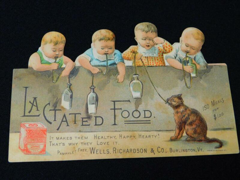 Antique Advertising Card WELLS RICHARDSON & CO LACTATED Baby FOOD Cat Late 1800s
