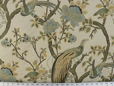 Drapery Upholstery Fabric Birds and Berries Embroidered Jacquard - Celery Multi
