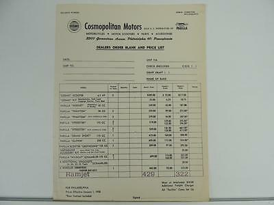 1958 Parilla Motorcycle Parts And Accessories Dealers Price List Scrambler L1286