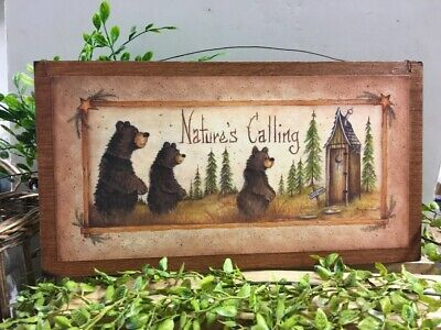 Natures Calling Country Bath Wooden Wall Art Sign Lodge Bathroom Decor outhouse  Outhouse Bathroom Decor