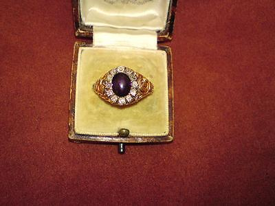 Georgian 18ct gold Amethyst & Diamond memorial / mourning ring dated 1828