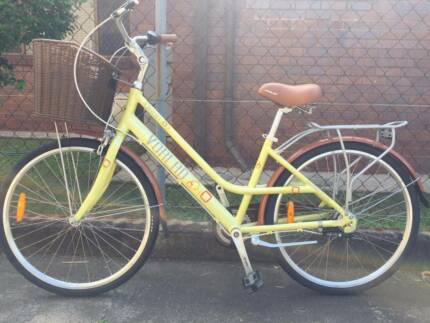 sell 100% new yellow lady bike with basket and carrier