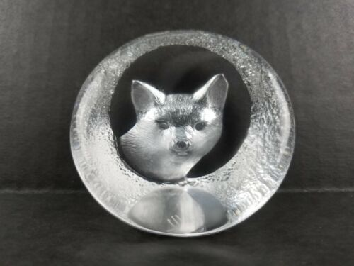 Mats Jonasson Vintage Glass Fox Paperweight M J Sweden Signed Numbered 9177