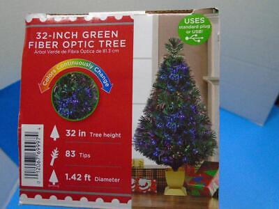 New 32 Inch FIBER OPTIC Christmas Tree Green w/ Base Color Changing Holiday Time