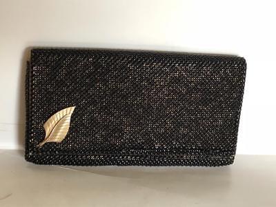 Vintage Gold & Black Evening Bag Purse Black Gold Chainmail Leaf Pin 8x4.5
