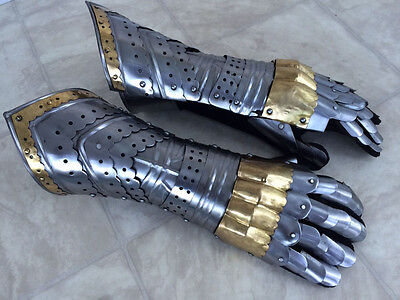 Gauntlet Gloves Armor Pair w  Brass Accents - Medieval Knight Crusader - Steel