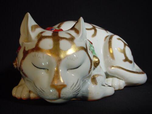 Antique Kutani Sleeping Cat Japanese Life-Size Moriage Heavy Porcelain