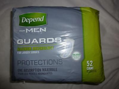 Lot of 5 Depend for Men GUARDS Maximum Absorbency 52 Count NEW In Package