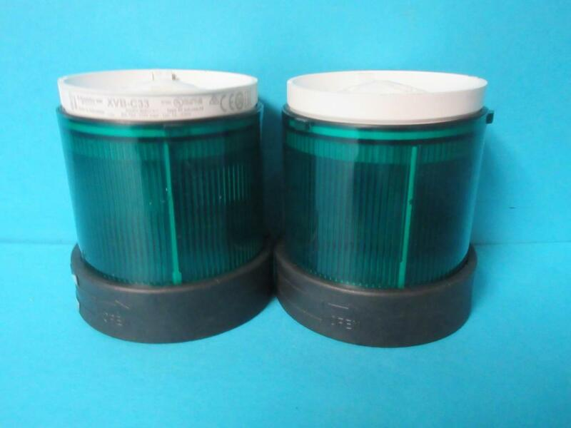 LOT OF 2 SCHNEIDER ELECTRIC XVB C33 SIGNAL PILLAR CONTINUOUS GREEN 084509